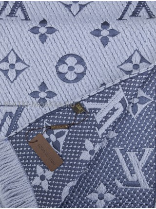 Шарф брендовый Logomania Shine голубой 1057
