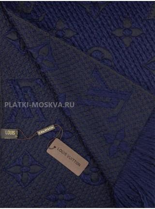 Шарф брендовый Logomania Shine темно-синий 1058