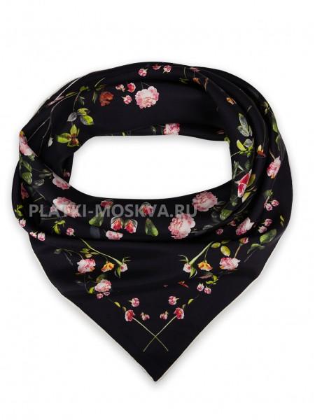 """Платок Burberry шелковый черный """"Rose"""" 1542-90"""