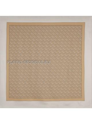 """Платок Burberry шелковый белый с бежевым """"Monogram"""" 1540-90"""