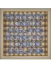 """Платок Burberry шелковый бежевый с голубым """"Надписи"""" 1539-90"""