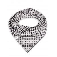 """Платок Chanel шелковый белый с черным """"Monogram"""" 1545-90"""