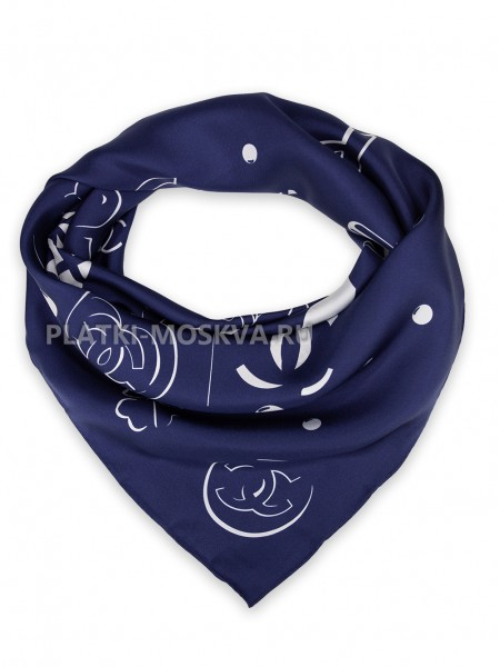 "Платок Chanel шелковый синий ""Shopping"" 1549-90"