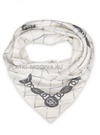 """Платок Chanel шелковый белый """"Buds"""" 1546-90"""