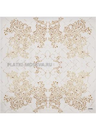 "Платок Chanel шелковый белый ""Leaves"" 1543-90"
