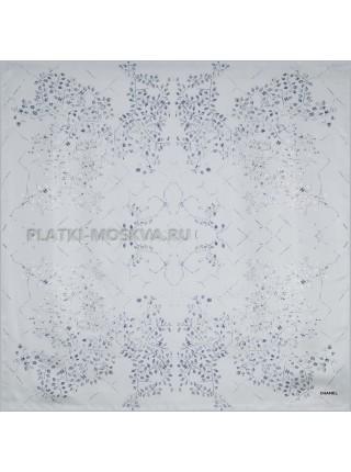 "Платок Chanel шелковый голубой ""Leaves"" 1544-90"