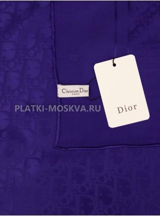 """Платок Dior шелковый синий однотонный """"Monogram"""" 1567-90"""