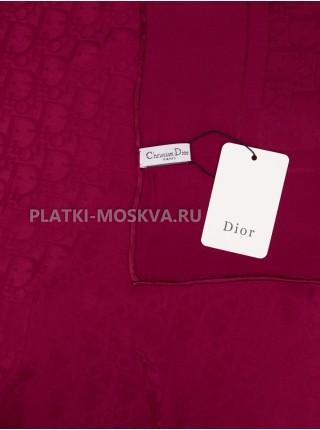 """Платок Dior шелковый бордовый однотонный """"Monogram"""" 1566-90"""