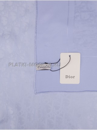 """Платок Dior шелковый голубой однотонный """"Monogram"""" 1565-90"""