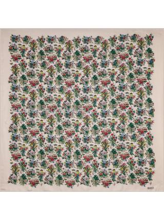 """Платок Gucci шелковый бежево-розовый """"Flora"""" 1557-90"""