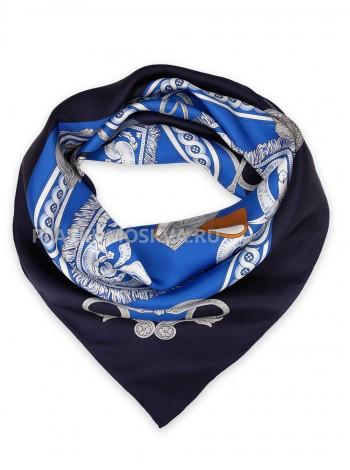 """Платок Hermes шелковый черный с синим """"Фланец"""" 1556-90"""