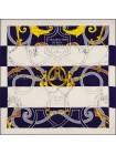 """Платок Hermes шелковый белый с синим """"Ремни"""" 1552-90"""