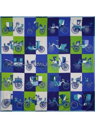 """Платок Hermes шелковый синий с зеленым """"Voitures Exquises"""" 1826-140"""