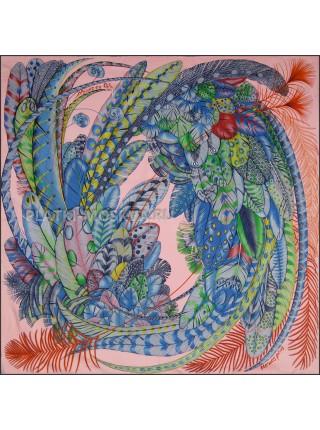 "Платок Hermes шелковый розовый ""Перья"" 1827-90"