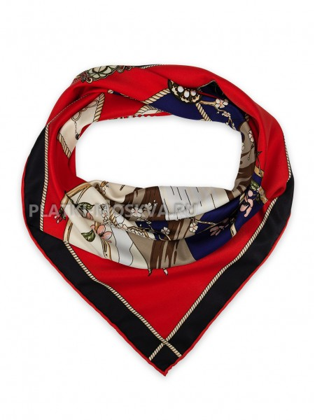 "Платок Hermes шелковый красный ""Сакура"" 1823-90"