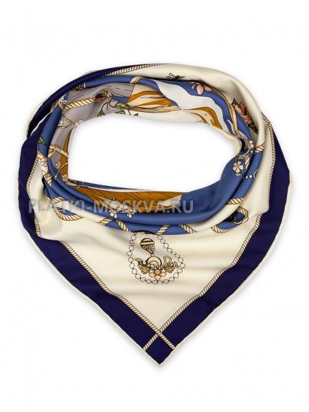 """Платок Hermes шелковый белый с синим """"Сакура"""" 1822-90"""