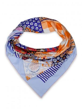 """Платок Hermes шелковый голубой """"L'Art du Sarasa"""" 1816-90"""