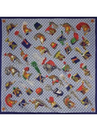 "Платок Gucci шелковый синий ""Hat's"" 1815-90"