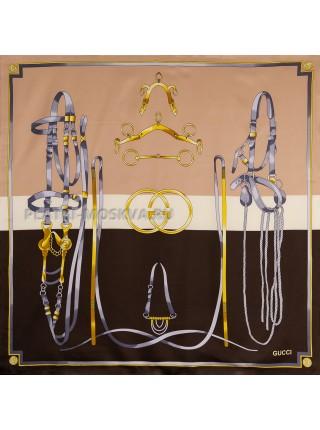 """Платок Gucci шелковый бежевый с коричневым """"Ремни"""" 1832-90"""