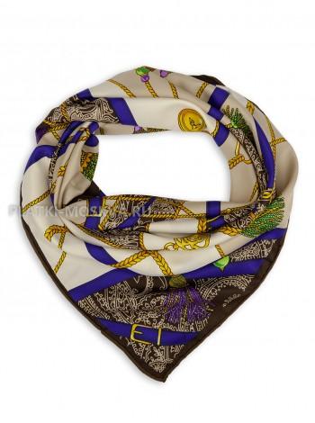 """Платок Hermes шелковый бежевый с коричневым """"Ремни"""" 1850-90"""