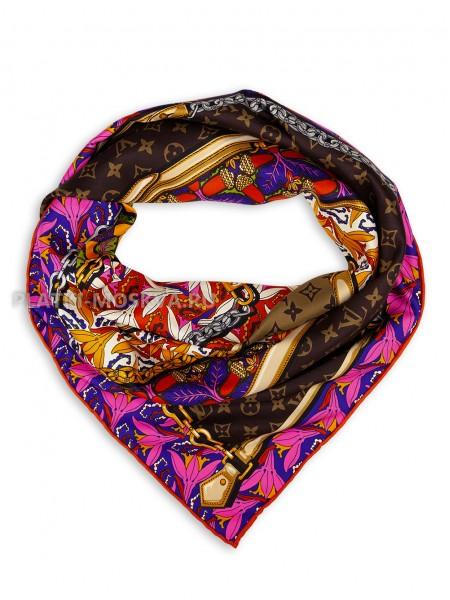 """Платок брендовый шелковый фуксия с коричневым """"Tropicana"""" 1844-90"""