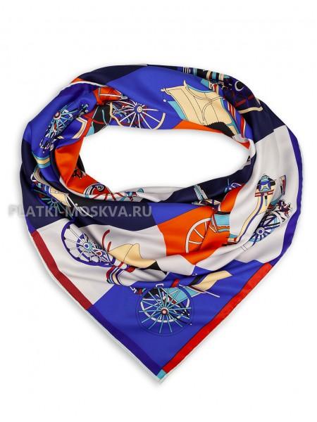 """Платок Hermes шелковый синий с красным """"Voitures Exquises"""" 1838-140"""