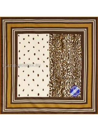 """Платок Burberry шелковый коричневый """"Леопард"""" 1846-90"""
