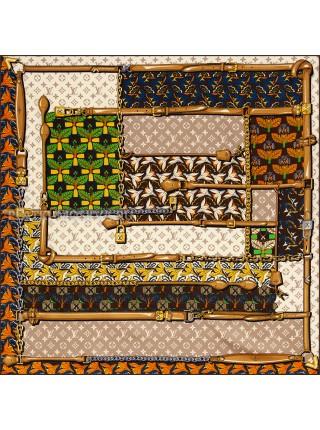 """Платок брендовый шелковый бежевый """"Tropicana"""" 1842-90"""