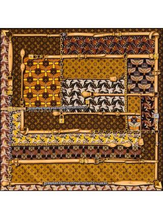 """Платок брендовый шелковый коричневый """"Tropicana"""" 1841-90"""