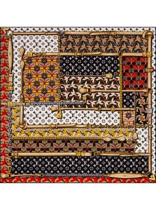 """Платок брендовый шелковый белый с черным """"Tropicana"""" 1843-90"""
