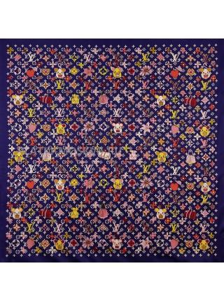 """Платок брендовый шелковый темно-синий """"Logo Mouse"""" 1888-140"""