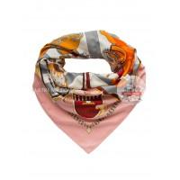 """Платок Hermes шелковый розовый с серым """"Рыцари"""" 1368-140"""