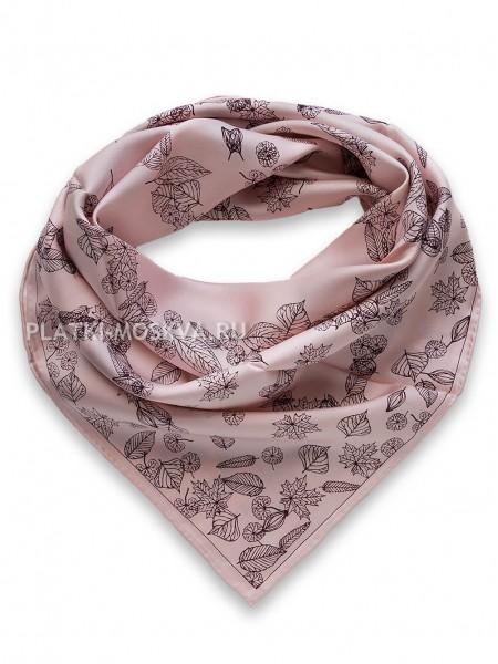 """Платок Chanel шелковый розовый """"Листопад"""" 1506-90"""