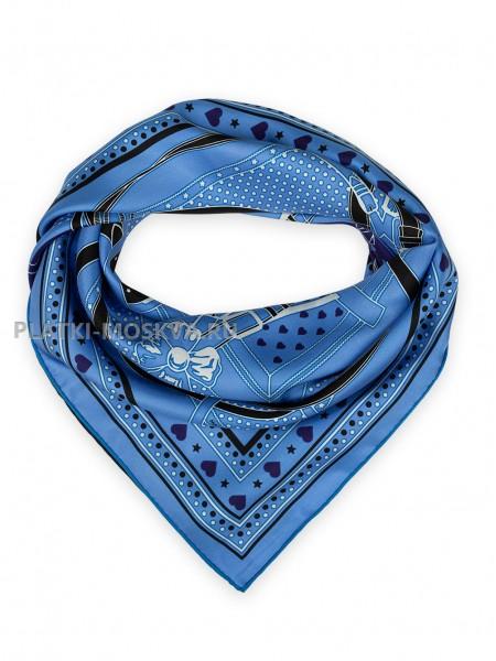 Платок Hermes шелковый синий с фиолетовым двойной «Grand Manege» 1535-90