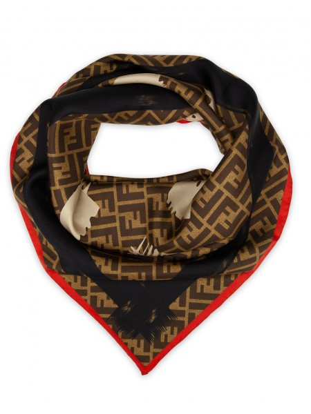 """Платок Fendi шелковый коричневый с красным """"Монограмма"""" 1525-90"""