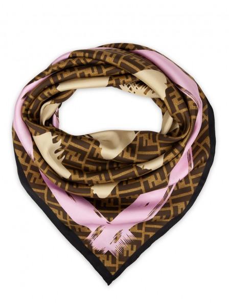 """Платок Fendi шелковый коричневый с розовым """"Монограмма"""" 1526-90"""