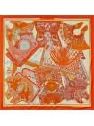 """Платок Hermes шелковый белый """"Tapis de Selle"""" 1879-140"""