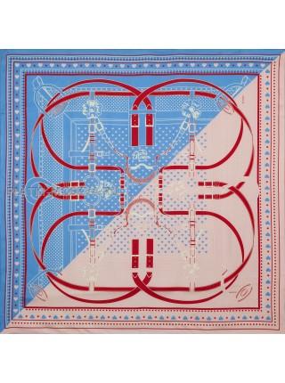 Платок Hermes шелковый синий с розовым двойной «Grand Manege» 1536-90