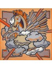 "Платок Hermes шелковый оранжевый ""Pegase Pop"" 1709-140"