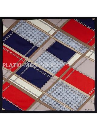 """Платок Gucci шелковый синий с красным """"Ремни и цепи"""" 1790-90"""