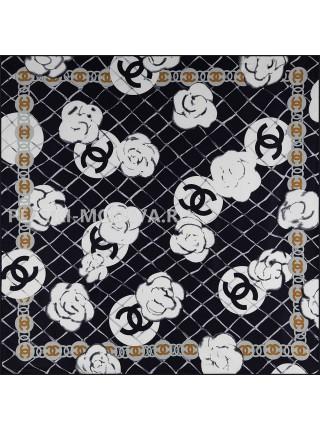 """Платок Chanel шелковый черный """"Бутоны"""" 1785-90"""