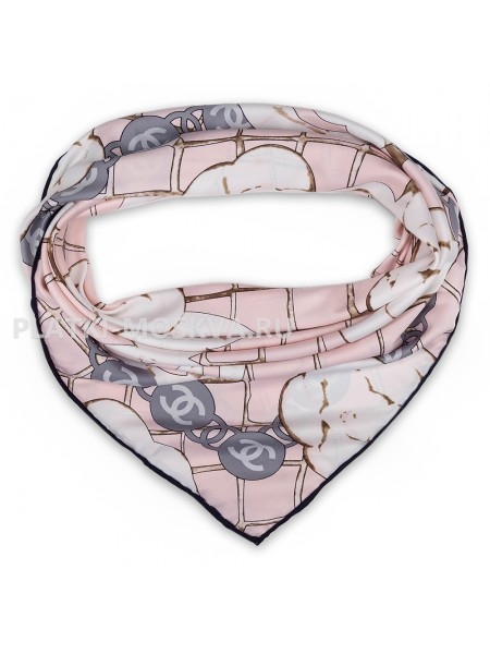 "Платок Chanel шелковый розовый ""Бутоны"" 1786-90"
