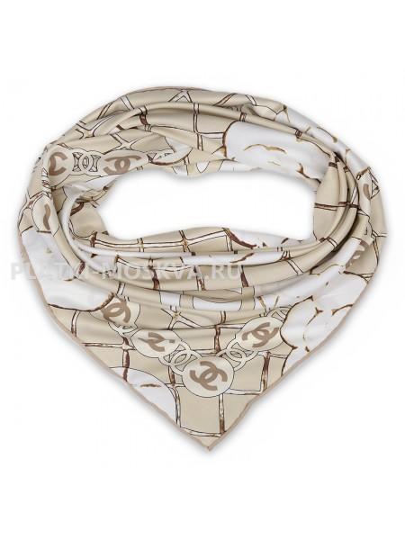 "Платок Chanel шелковый бежевый ""Бутоны"" 1787-90"