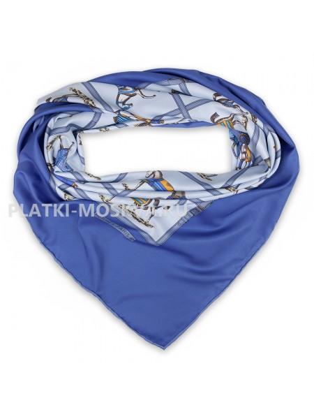 Платок Hermes шелковый голубой «Лошади» 1769-140