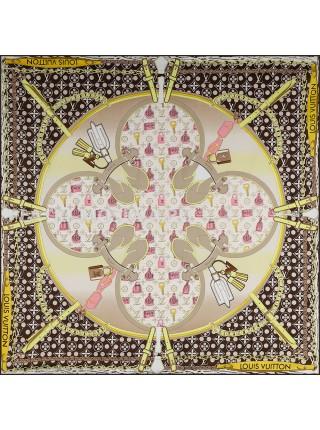 """Платок брендовый шелковый коричневый """"Monogram Pop"""" 1782-90"""