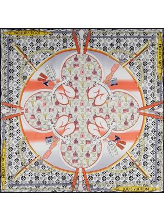"""Платок брендовый шелковый серый с розовым """"Monogram Pop"""" 1779-90"""