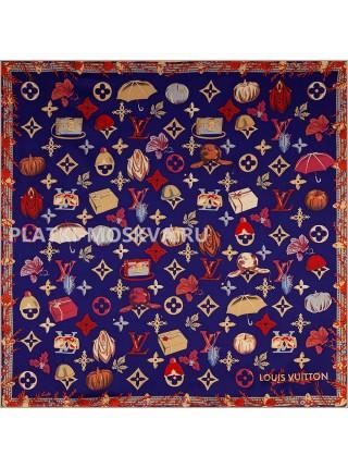 """Платок брендовый шелковый синий """"Осенний мотив"""" 1794-90"""