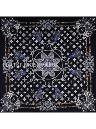 """Платок брендовый шелковый черный """"Morning Star"""" 1793-90"""