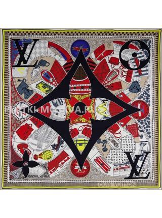 """Платок брендовый шелковый белый с красным """"История бренда"""" 1792-90"""