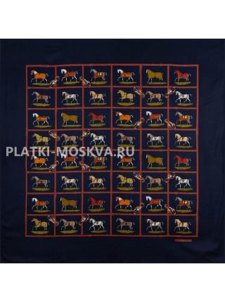 Платок Hermes шелковый черный «Лошади» 1771-140